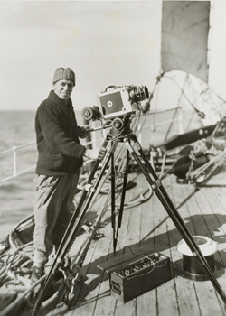 Frank Hurley aboard the Discovery. National Library of Australia.