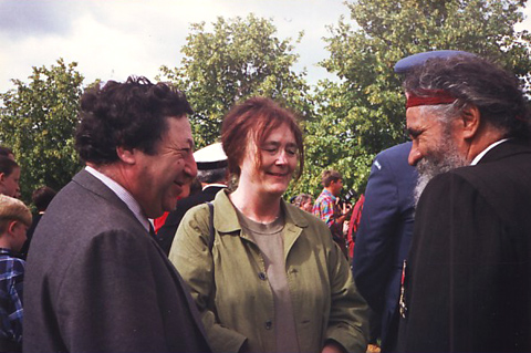Peter Ucko, Jane Hubert, Ken Colbung at an Anzac Day service in Battersea Park, London, 1997