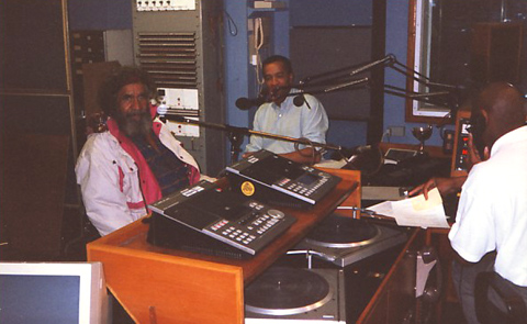 Ken Colbung being interviewed in a UK radio station
