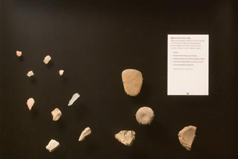 A variety of stone tools.