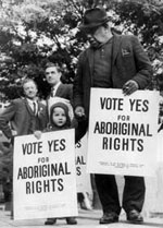 Bill Onus, President of the Victorian Aborigines' Advancement League, taking part in the march for Aboriginal Rights referendum, Melbourne, 29 May 1967. Photo: Fairfaxphotos.