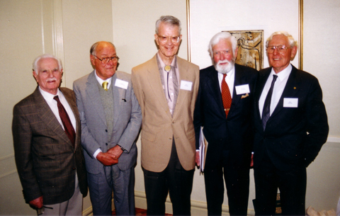 The five surviving Expedition members at the 50th anniversary reunion in 1998. Left to right: Peter Bassett-Smith, Brian Billington, Robert Miller, Howell Walker and Raymond Specht.