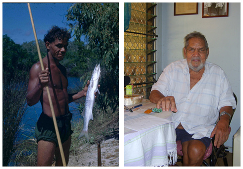 left: Jerry [Gerald] Blitner holding a fish, 1948. right: Gerald Blitner recording his oral history in Darwin, 2007.