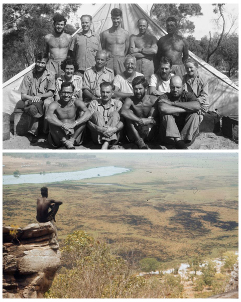 (top): Members of the American–Australian Scientific Expedition to Arnhem Land, Groote Eylandt, 1948. (bottom): Man sitting on the end of a rock looking over a view of Alligator River, 1948.