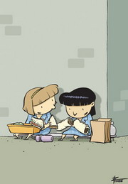 A cartoon of two girls sharing their sandwiches in the school playground.