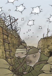 Cartoon of two wombats in the trenches on the battlefield.