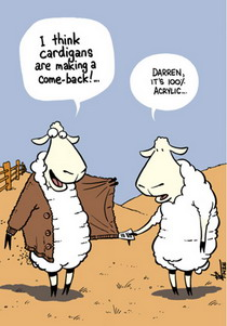 Cartoon of a confidently cardigan wearing sheep being told by another sheep that his cardigan is 100% acrylic.