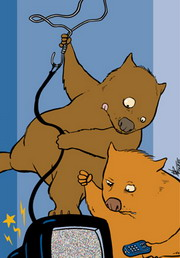 Cartoon of two wombats trying to get reception on a broken television.
