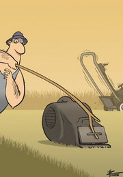 Cartoon of a man using a long stick to tentatively open the catcher of a lawn-mower.