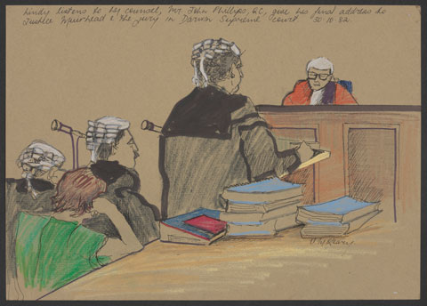 Courtroom scene showing a woman in a short-sleeved green top seated a table facing a judge. The woman rests her right elbow on the table and her head on her hand. Three people wearing wigs and dark legal robes stand in front of the woman, facing the judge. One stands addressing the judge, who is seen sitting at the bench wearing a wig and red robes.