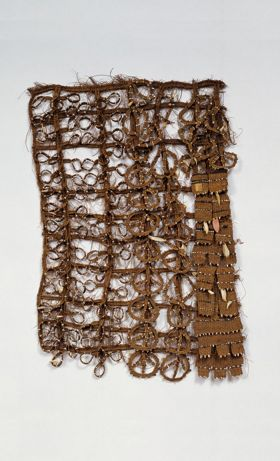 Apron made of coconut fibre, shell, fish teeth and scarlet feathers