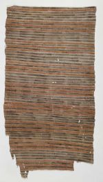 Thin barkcloth decorated with bundles of triple parallel lines which are either red or black.
