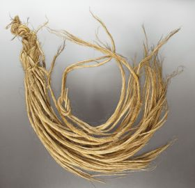 Flax sample in long, twisted strands
