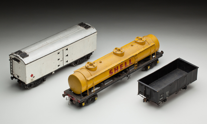 (l-r) New South Wales Railways 'MRC' refrigerator van, petrol tank wagon and 'K' open wagon, made from cast metals by Frederick Steward and associates