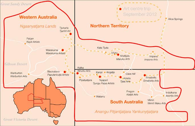 Map of Songlines area of Australia