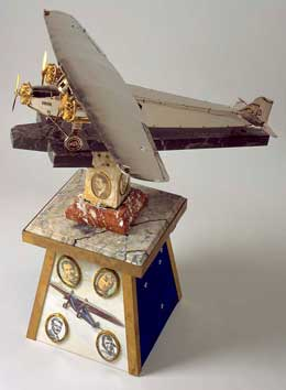 Austin Byrne's scale model of the Southern Cross on pedestal