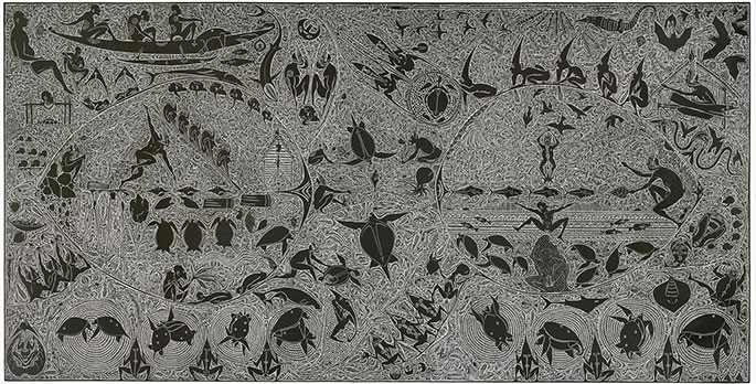 A linocut relief print on cream coloured paper in black ink. The print incorporates images of turtles, birds, bats, fish, a shark and crocodile and male figures, infilled with detailed patterning.