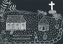 'Coming of the Light', 2006, linocut print by Sedey Stephen, Erub (Darnley Island), ink on paper.