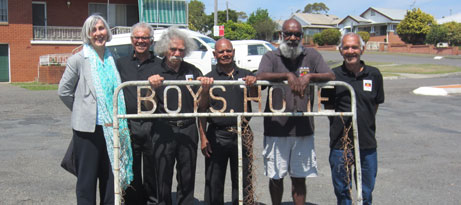 Curator Jay Arthur in Kempsey with a group of Kinchela boys at the donation of the Kinchela gate to the National Museum (from left) Michael Walsh, Cecil Bowden, William Lesley, Ian (Crowe) Lawson and Manuel Ebsworth.