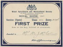 A photo of a first prize card from the 'Royal Agricuttural and Horticultural Society of South Australia', awarded to 'Mrs MJ McColive'  for 'Knee or Cot Rug, knitted or crocheted'.