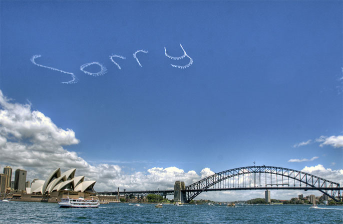 Sorry sky writing