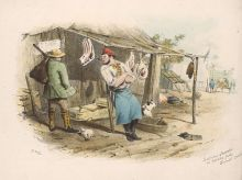 A colour illustration of a butcher leaning on a post outside a slab hut. Cuts of meat hang from the hut's verandah roof. A dog sits at the door and a man carrying a sack over his shoulder stands looking at a cut of meat.