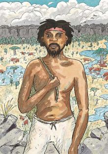 Colour illustration of an Aboriginal man wearing white pants, a red headband and no shirt. Cows graze in the distance.