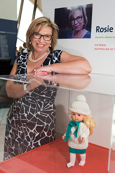 Rosie Batty, Australian of the Year and crusader against domestic violence, with her childhood doll on display at the Museum