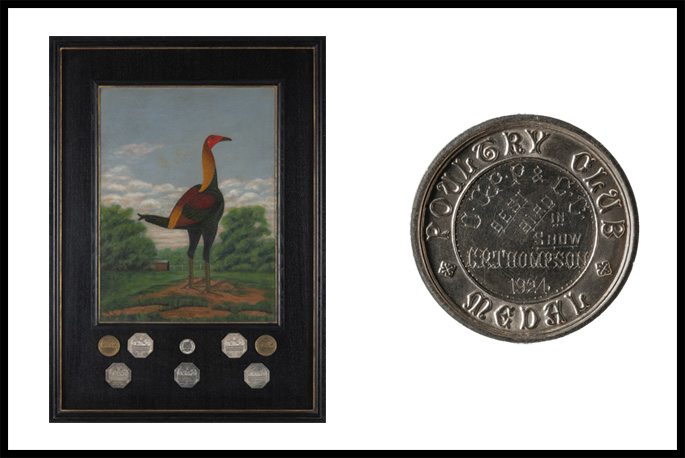 A compilation of two images - a portrait of a bird and a silver medal dated 1924.