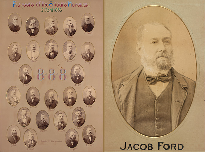 Left photo: A composite photo made up of 25 small portraits of men. At the top is a title reading Pioneers of the 8 hours movement. In the middle is the legend 8 + 8 + 8. Right photo: sepia portrait of a late middle-aged man with a beard and bow-tie