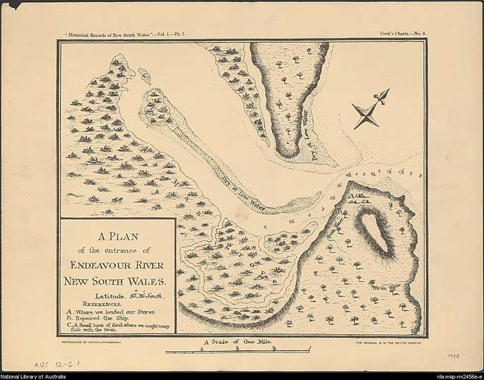 """map showing the estuary of the Endeavour River. It's title is A plan of the entrance of Endeavour River, New south Wales. Latitude 15' 26"""" South. References. A. Where we landed our stores. B Repaired the Ship. C A small bank of Sand where we caught many fish with the [seine net]"""