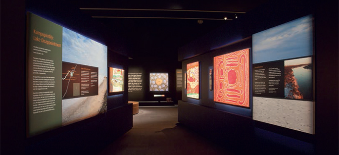 A display of Indigenous artworks.