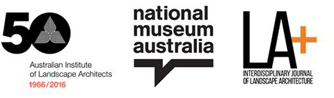 Three logos: Australian Institute of Landscape Architects, National Museum of Australia, Interdisciplinary Journal of Landscape Architecture