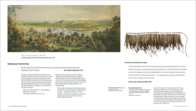 A sample page from the Encounters book about objects in the exhibition from the Warrnambool region, Victoria.