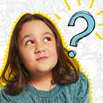 A happy, young girl with eyes looking upwards and a large, hand-drawn blue question mark to the right of the picture