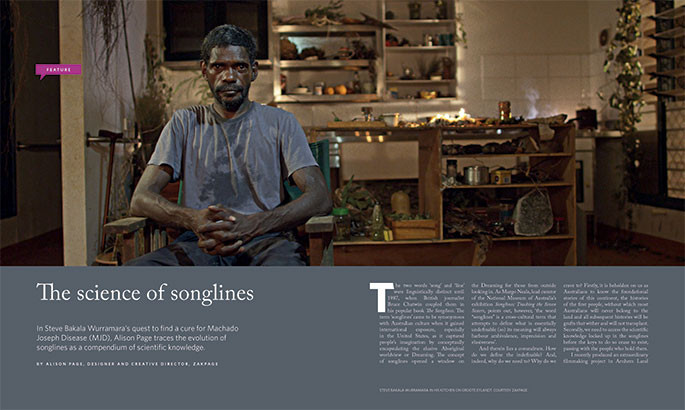 Publication spread with image and text