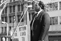 Indigenous rights activist Ray Peckham presenting the case for the referendum at a rally in Sydney, 18 May 1967. Tribune/Search Foundation and State Library of New South Wales.
