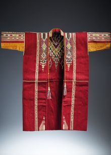 An overcoat made from tapestry-woven wool, silk and metal thread brocading
