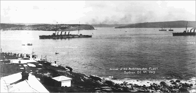 Two of that fleet unit's warships, taken from a promontory on the southern shore of the Harbour.