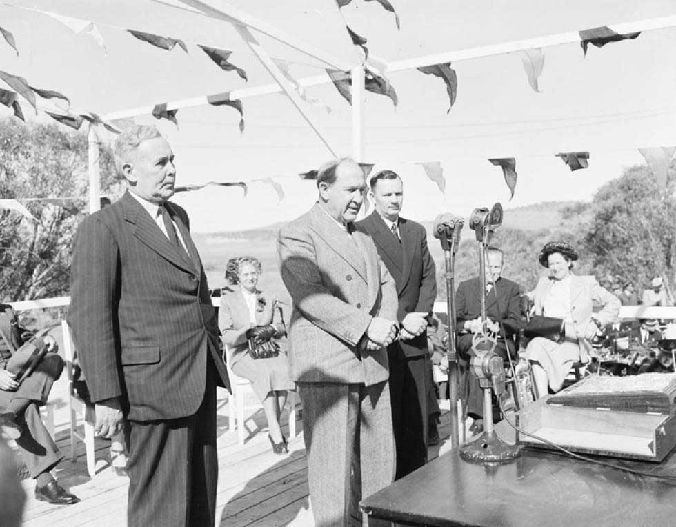 PM Ben Chifley at the launch of the Snowy Hydro scheme.
