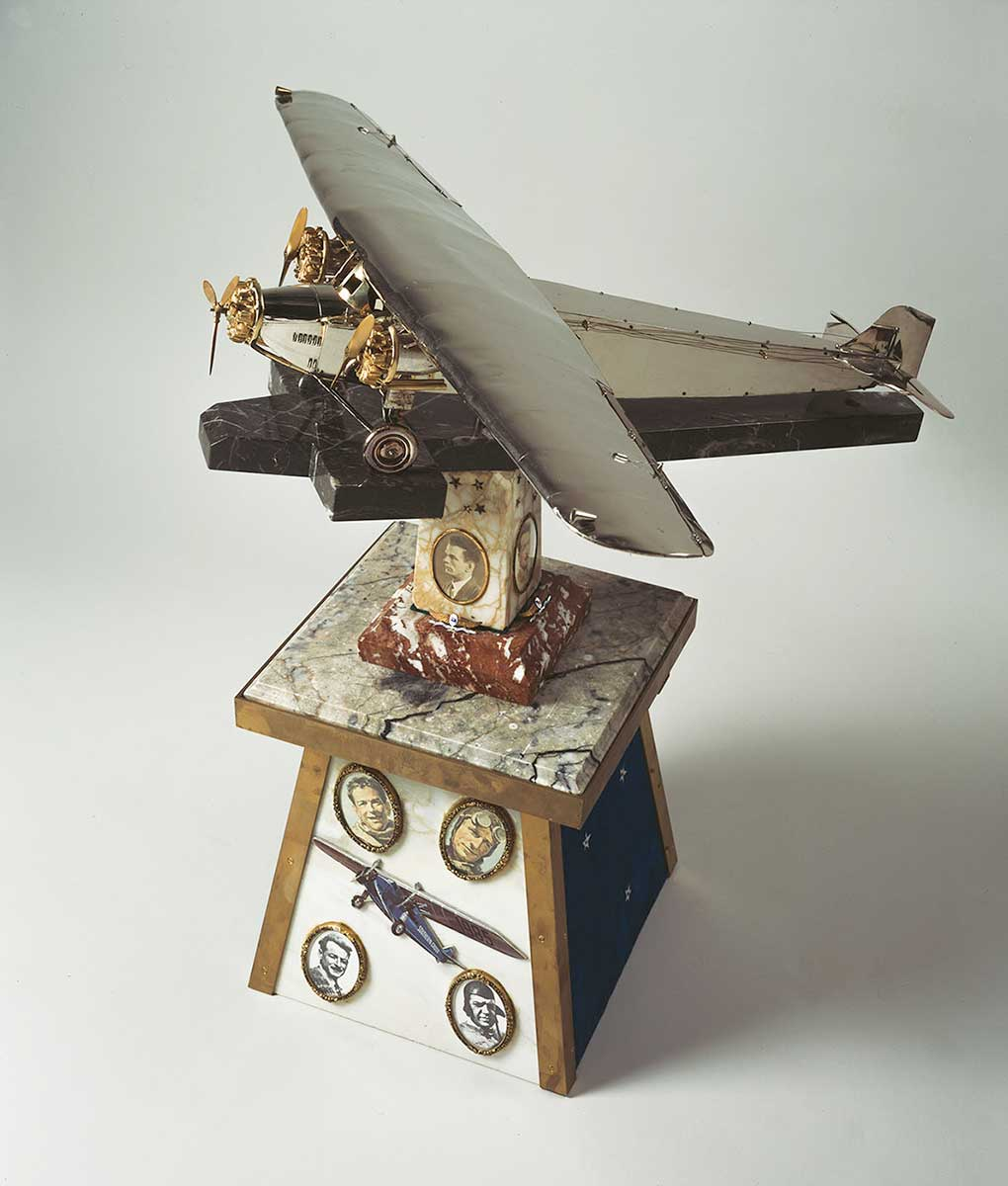 Austin Byrne's scale model of the Southern Cross on pedestal - click to view larger image