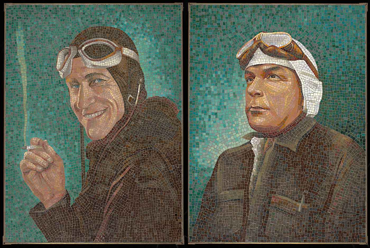 Mosaic portraits of Charles Kingsford Smith and Charles Ulm commissioned by Austin Byrne