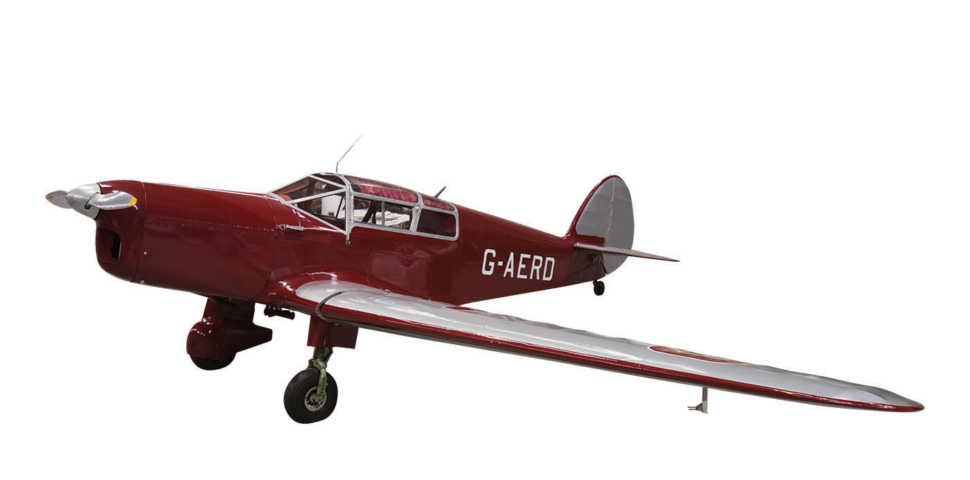 Photograph of a monoplane, deep red in colour, with silver wings and rudder. The aircraft has the registration 'G-AERD' in white at the far end of the fuselage. - click to view larger image