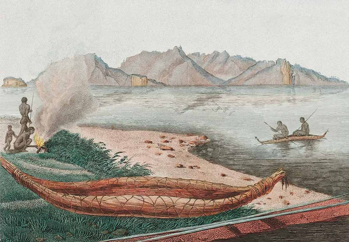 A large Tasmanian canoe seen on the eastern shore of Schouten Island, colour engraving by Charles-Alexandre Lesueur, artist on the Baudin Expedition (1800–1804). - click to view larger image
