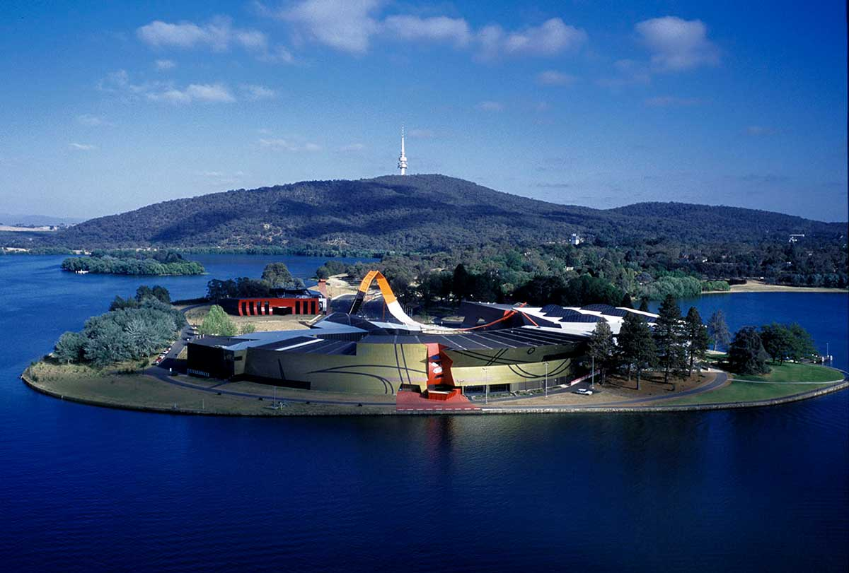 Aerial view of The National Museum of Australia on Acton Peninsula, Canberra.