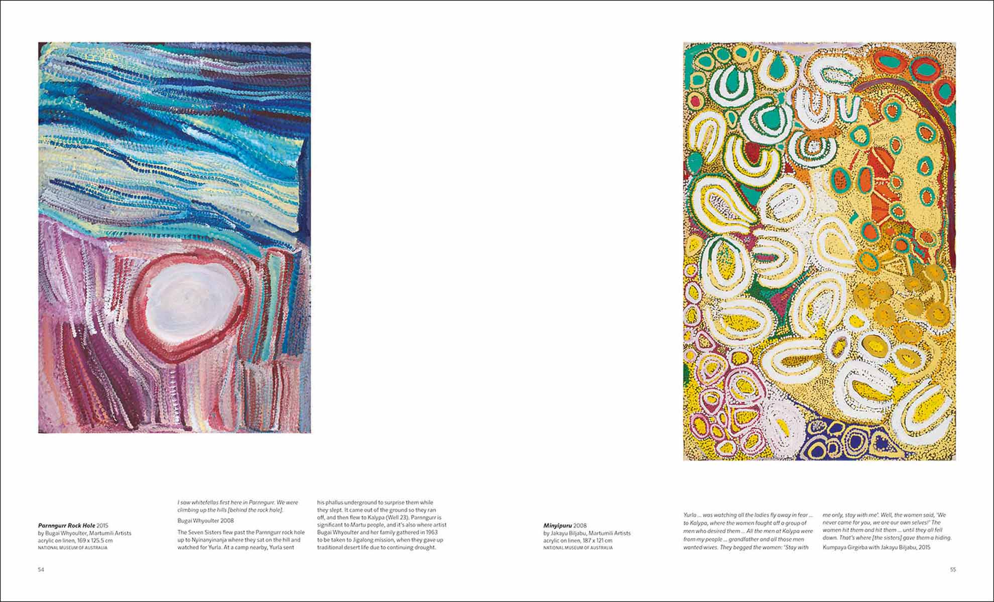 Songlines catalogue spread with images of 'Parnngurr Rock Hole' by Bugai Whyoulter and 'Minyipuru' by Jakayu Biljabu  - click to view larger image