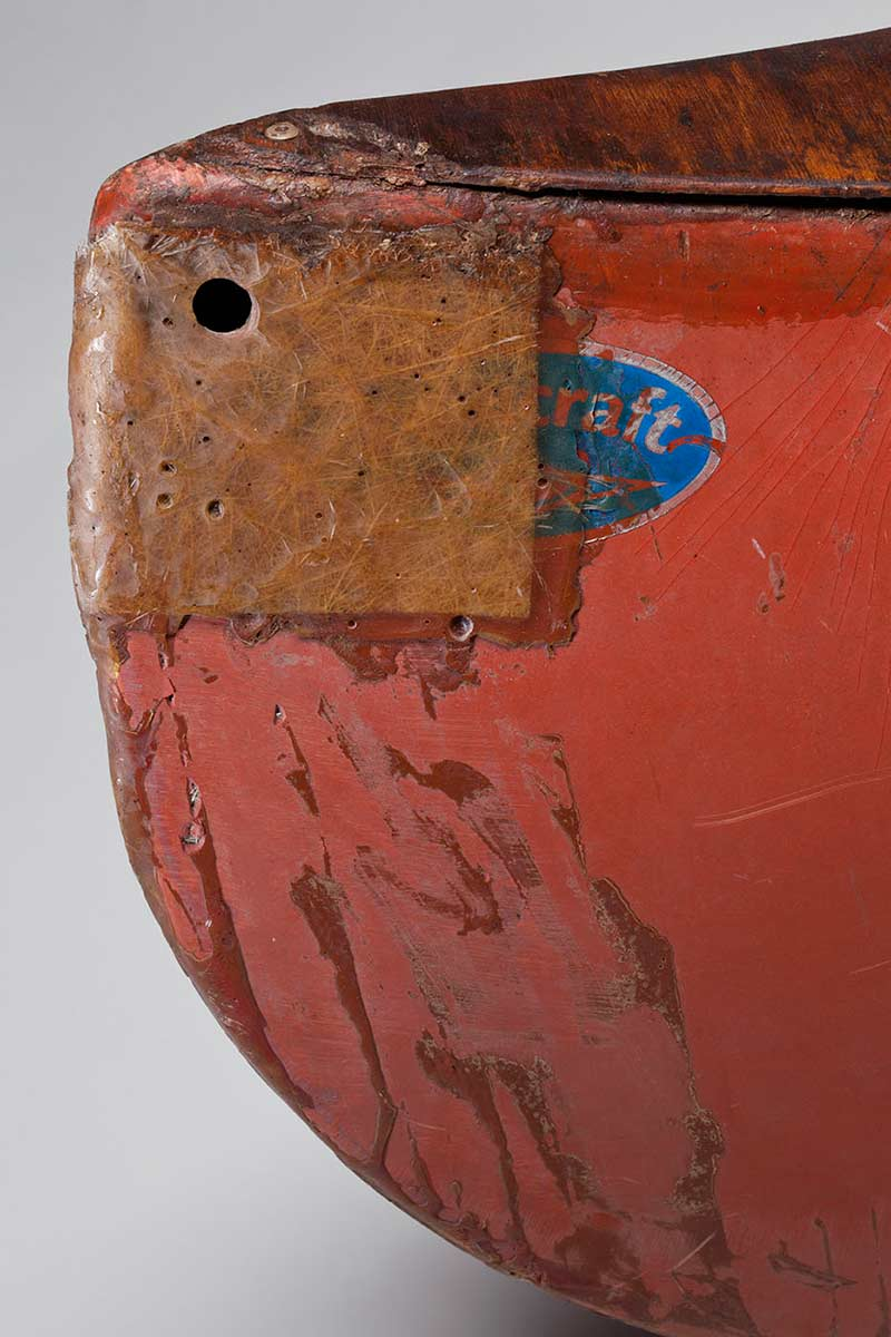 The canoe's stern, showing repair work undertaken by Andrew Skeat on Magnetic Island. - click to view larger image