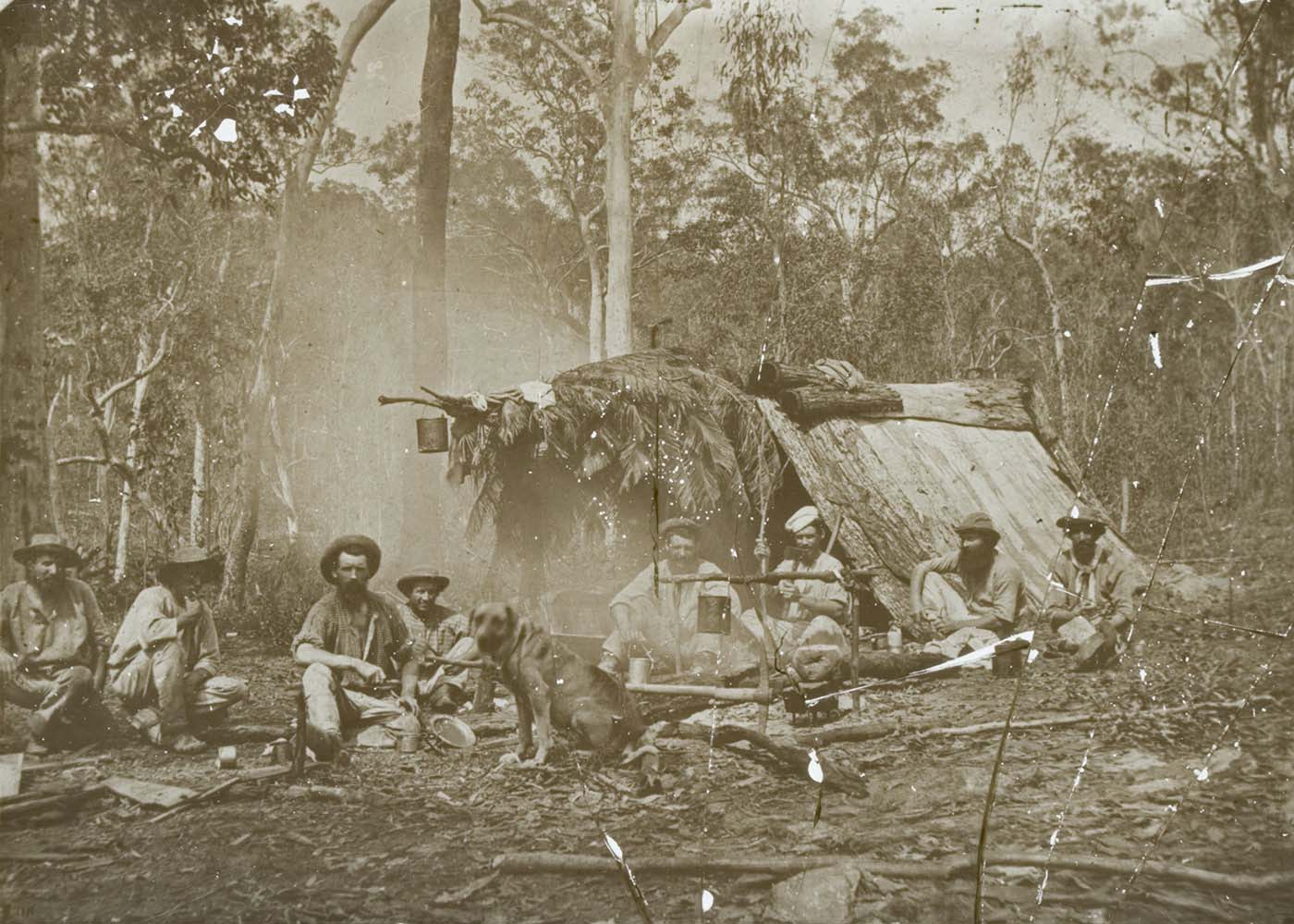 Black and white glass plate negative showing eight men sitting in front of a shelter in the bush. The A-frame shelter is made of bark and leaves and has a billy can hanging at the front. The men are gathered around a smoking fire, with another billy can hanging over the it. A dog sits at the front and centre of the image. - click to view larger image