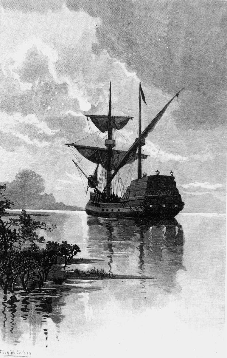 Etching showing a 17th-century vessel just off the coast. - click to view larger image