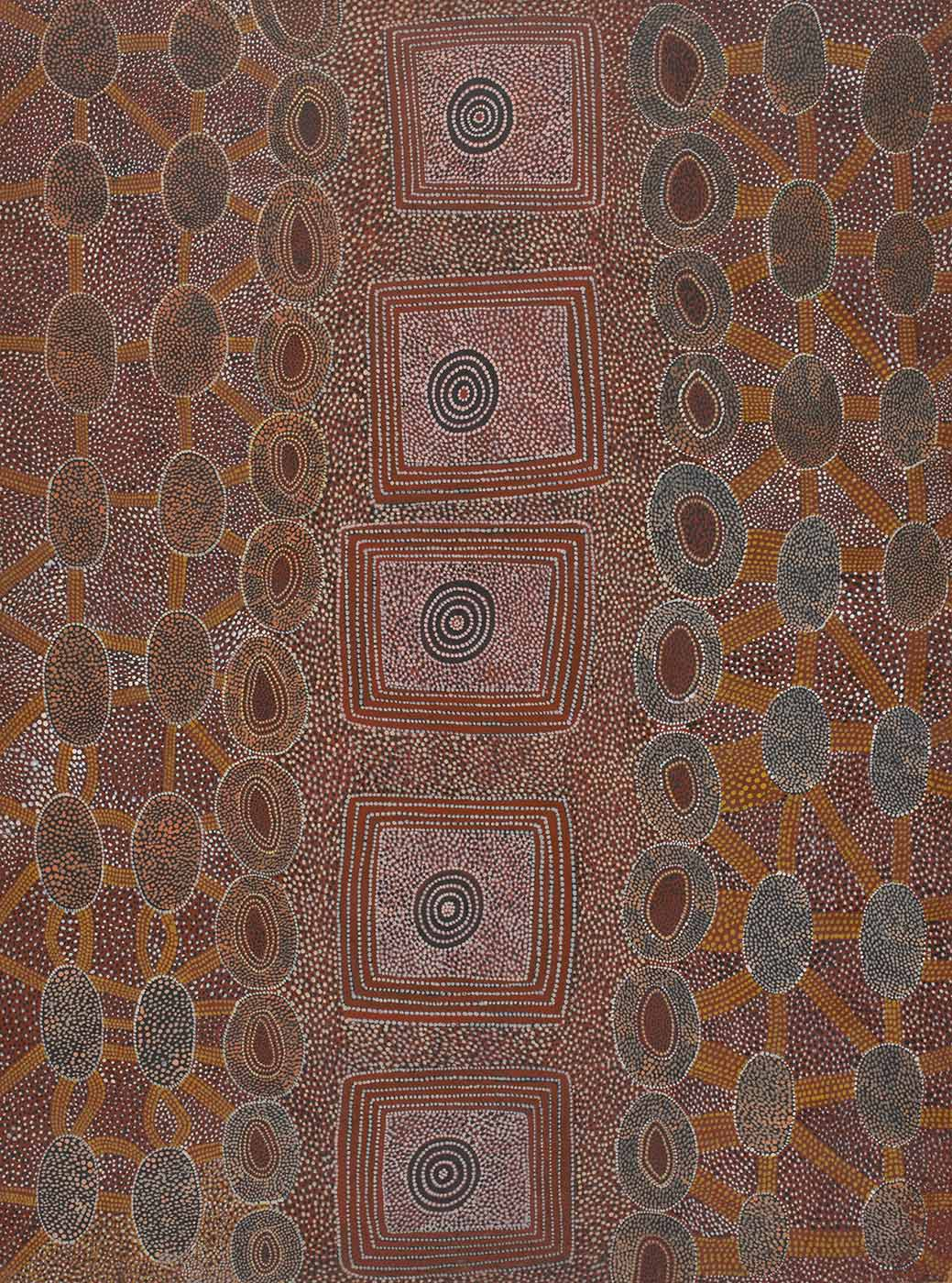 Aboriginal painting in ochre tones with a series of connected circles on either side and a central row of circles inside squaares - click to view larger image